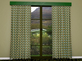 mid-century designed fabric used as curtain material