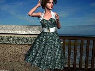 1950s style fabric design