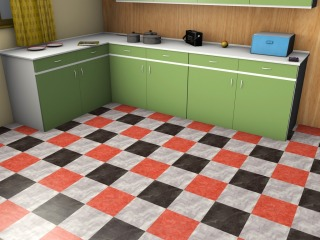 A popular mid-century inspired kitchen lino pattern
