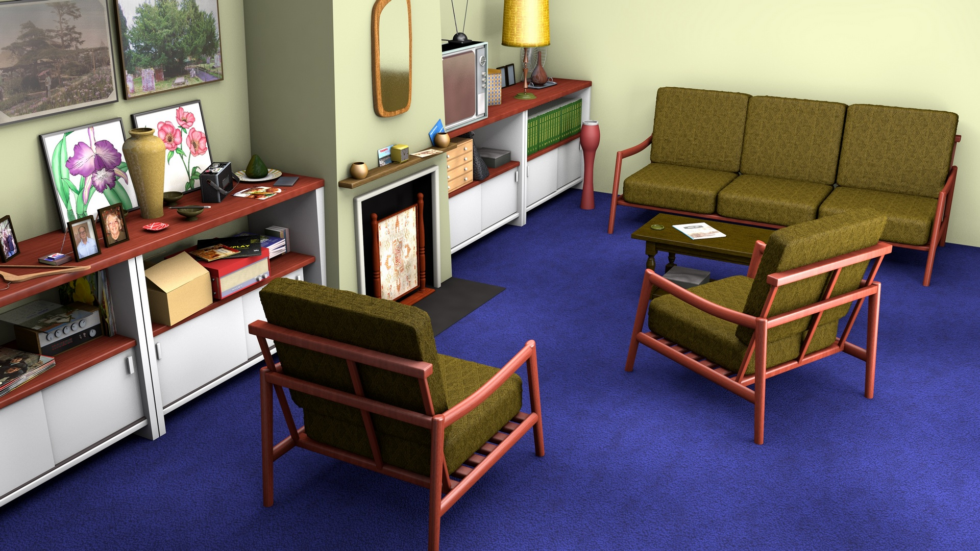The 1960s uk project the living room mid century styles for Living room uk