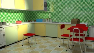 The 1950s kitchen 3D image