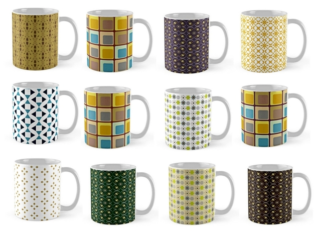 12 mugs for which I have created the patterns.