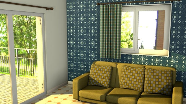 a feature wall using mid-century inspired wallpaper