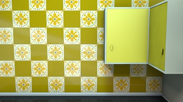 midcentury inspired kitchen tiles