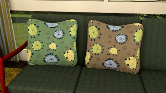 Mid-century inspired designs shown as cushion covers