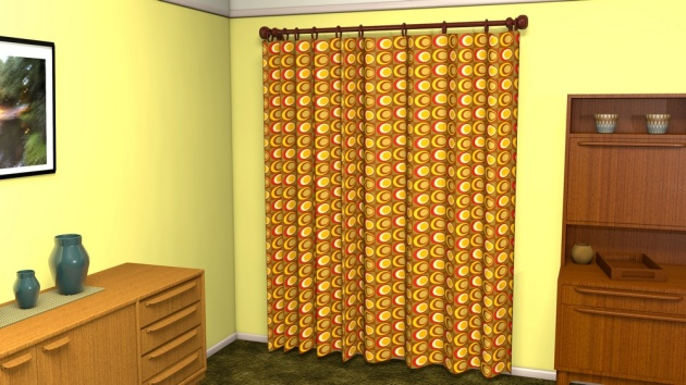 mid-century inspired geometric fabric pattern used as curtains