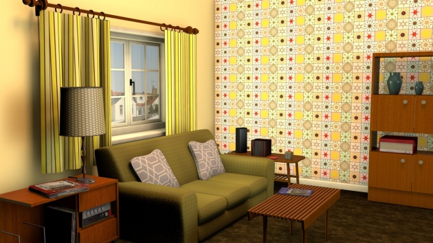 Mid-century inspired wallpaper pattern