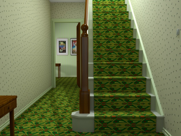 Interior design for a carpet on stairs and hall