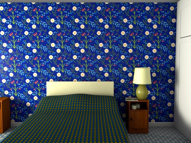 Blue wallpaper for a bedroom