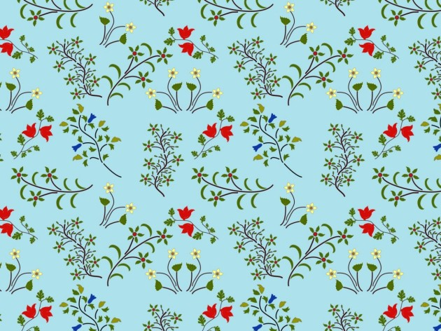 Mid-century inspired floral surface pattern