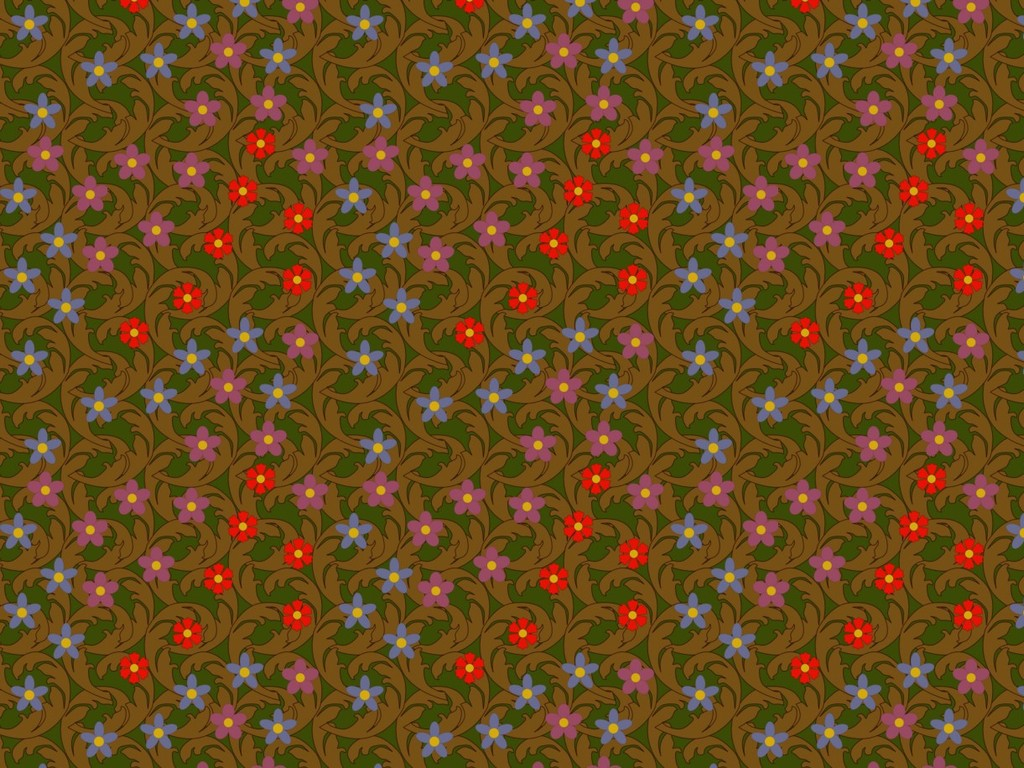 Pattern of carefully placed mid-century inspired flowers on a background of leaves