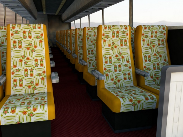 A lively mid-century inspired pattern used on coach seating