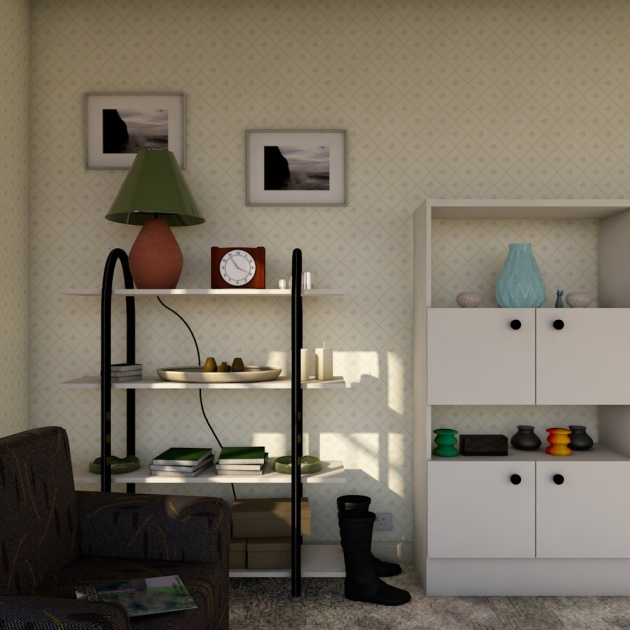 Image of 3D model of a 1980s house interior