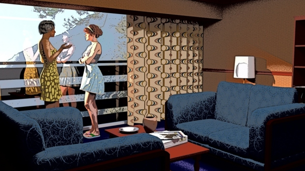 Two characters in a mid-century room stylized as a comic book