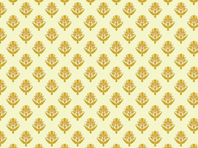 Design in light yellow of medium size motifs for use as curtaining in the 1989 living room