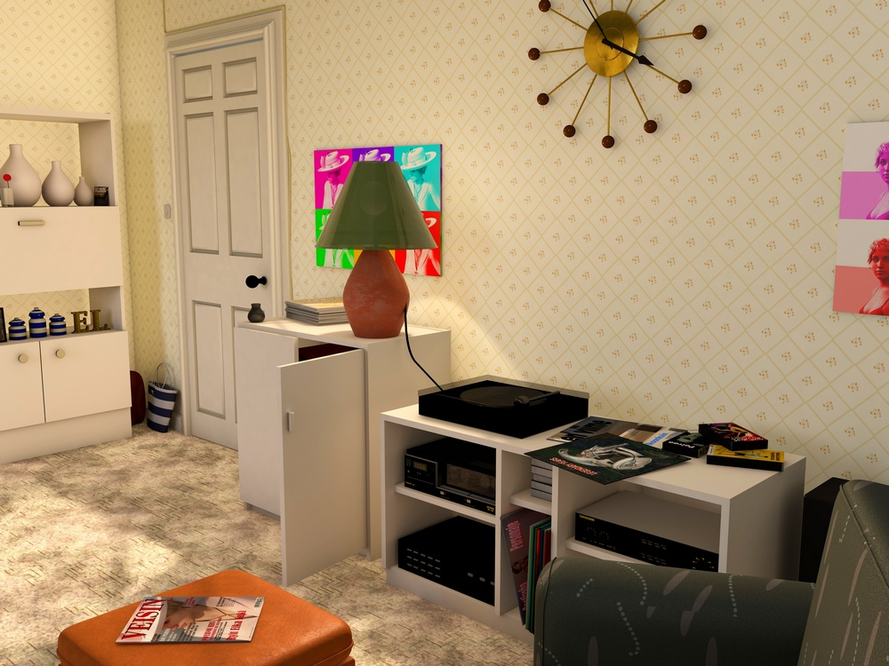 A living room in 1989 - the third and final image which shows the right hand view