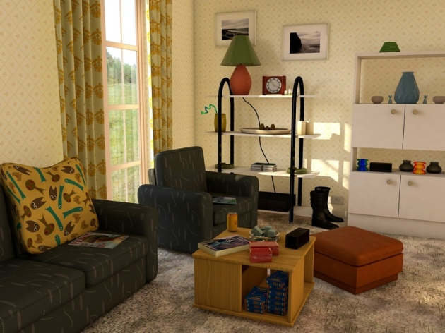 Living room in 1989 created in 3D