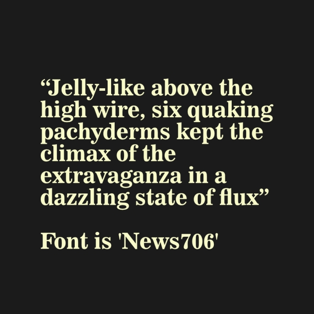 Short phrase illustrating the font News706