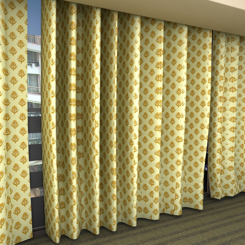 3D model of curtains in a hotel or function room