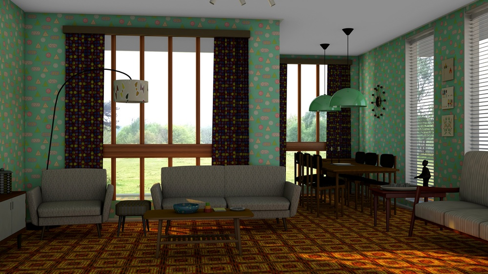 Image created from a 3D model of a 1960s style room