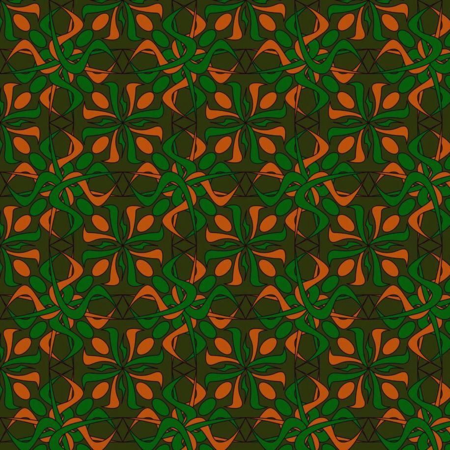 1960s psychedelic pattern in pink, red and green